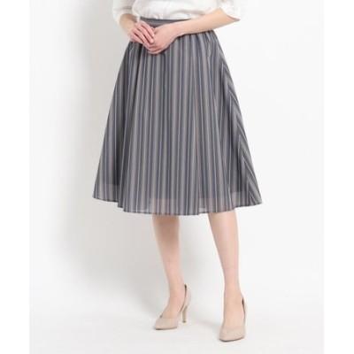 マルチストライプ柄ギャザースカート