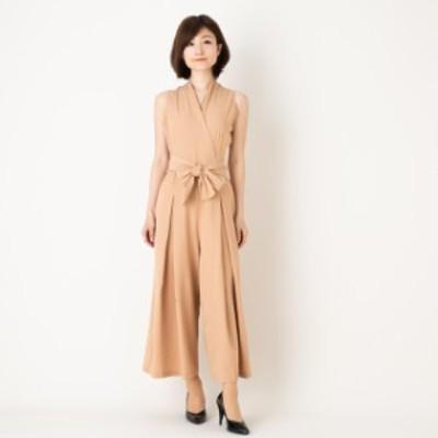 ワイドパンツドレス カジュアル オフィス パーティー お呼ばれ オールインワン 韓国 クロスVネック アイボリーSサイズ