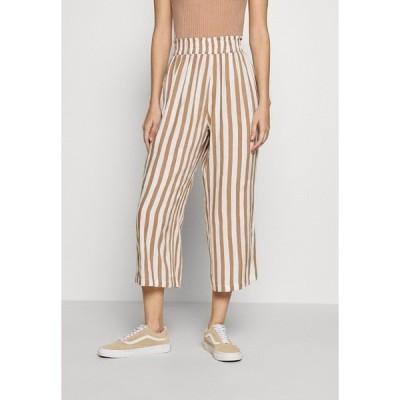 オンリー カジュアルパンツ レディース ボトムス ONLASTRID CULOTTE PANTS  - Trousers - cloud dancer/beige stripes