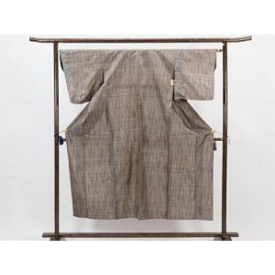 【中古】リサイクル紬 / 正絹茶色地単衣紬着物 (古着 中古 紬 リサイクル品)