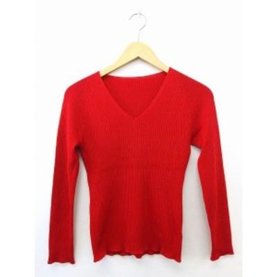 【中古】ノーリーズ Nolley's Tシャツ カットソー Vネック 長袖 ウール 38 レッド 赤 /UT16 レディース