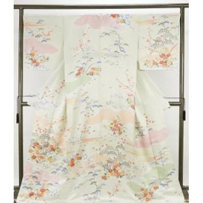 訪問着 新品仕立済 正絹 四季花家屋模様 訪問着 新品  仕立て上がり  着物