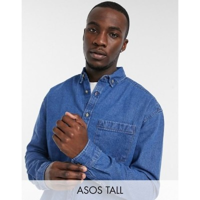 エイソス メンズ シャツ トップス ASOS DESIGN Tall 90s oversized denim shirt in mid wash blue
