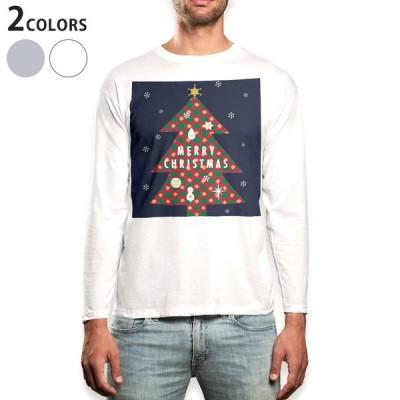 ロングTシャツ メンズ 長袖 ホワイト グレー XS S M L XL 2XL Tシャツ ティーシャツ T shirt long sleeve  クリスマスツリー 冬 木 015811