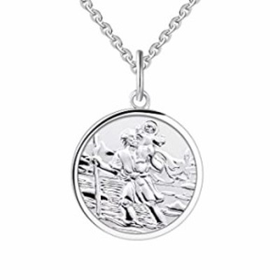 """FJ 925 Sterling Silver St. Christopher Necklace with 18"""" Chain For Children Women"""