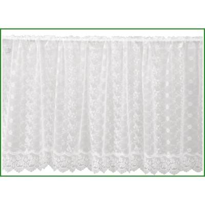 川島織物セルコン チュールエンブロイダリー カフェカーテン 138×60cm DW1304 W ホワイト|b03
