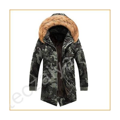 MODOQO Winter Warm Coat for Men Plus Size Camo Long Trench Zipper Hooded Jacket(Black,XL)並行輸入品
