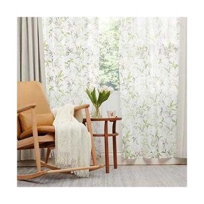 Bedsure カーテンレース 白 UVカット 防寒 リーフ レースのカーテン グリーン 葉 葉っぱ 遮熱 外から見えにくい