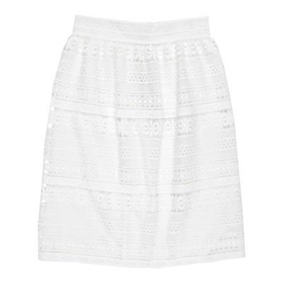 BURBERRY ひざ丈スカート ホワイト 38 ポリエステル 100% ひざ丈スカート