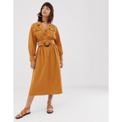 エイソス レディース ワンピース トップス ASOS DESIGN midi shirt dress in texture with tortoiseshell buckle Ochre