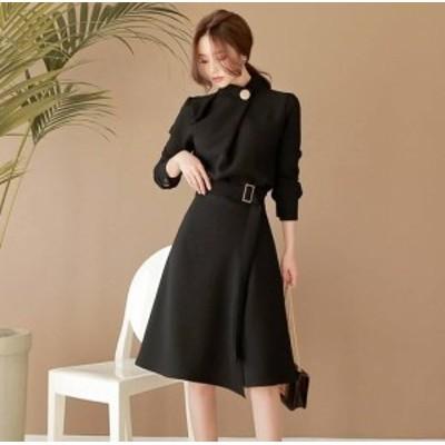 フォーマルなモード系ミモレ丈ワンピースドレス d0132