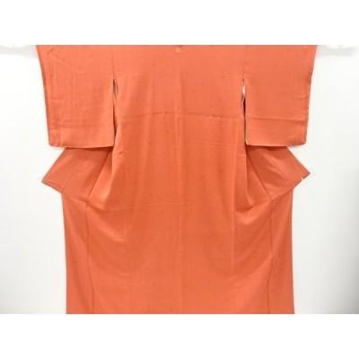 リサイクル 作家物 東京ますいわ屋 唐花に松葉模様織り出し一つ紋色無地着物
