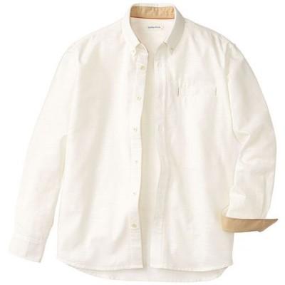 綿100%スマホ対応ポケット付きシャツ(長袖)/ホワイト/LL