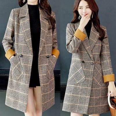 テーラードジャケット 大きなポケット チェック柄 韓国風 ゆったり ロングコート 大人かわいい 明るめ デート