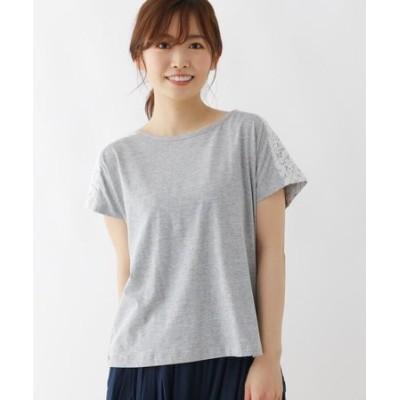 【M-L】バックレース切り替えTシャツ