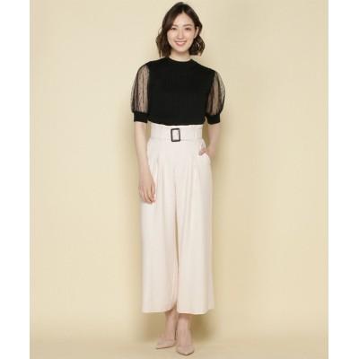 【アンドクチュール】 ベルト付きワイドパンツ レディース ベージュ M And Couture