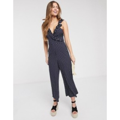 エイソス レディース ワンピース トップス ASOS DESIGN frill cami wrap culotte jumpsuit in polka dot Navy/white spot