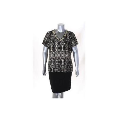 ジムコレクション ブラウス シャツ トップス Jm コレクション ブラック マルチ Plus サイズ Embellished プリント Top 1X 52LAFO