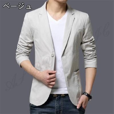 メンズ ジャケットスーツ 生地 カジュアル コート rose ビジネステーラードジャケット無地 通勤 通学 紳士 上品 スリム 長袖