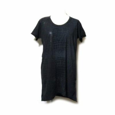 【新品】 ROQUE ILARIA NISTRI ロッケイラリアニストリ「S」イタリア製 クロコ柄Tシャツ (黒 ブラック) 128336 【中古】