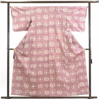 リサイクル着物 紬 正絹ピンク地先染袷真綿紬着物