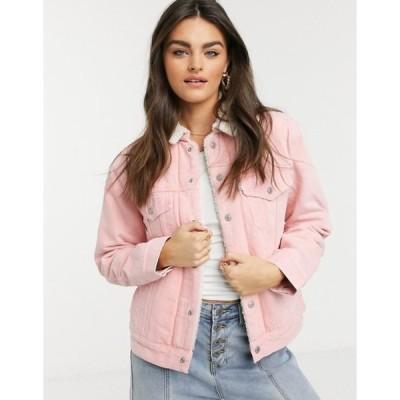 リーバイス レディース ジャケット・ブルゾン アウター Levi's ex-boyfriend Sherpa trucker denim jacket in pink