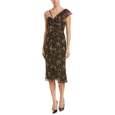 テルーラ レディース ワンピース トップス Talulah Ruffle Silk-Blend Midi Dress black rose print