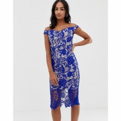 ミスガイデッド Missguided レディース ワンピース ミドル丈 ワンピース・ドレス Lace Bardot Midi Dress ブルー