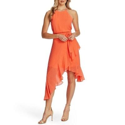 セセ レディース ワンピース トップス Sleeveless Halter Clip Dot Asymmetrical Midi Dress