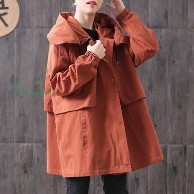 2020 秋 新トレンチ コート 女性 ルースプラス サイズ カジュアル な フード 付き ウインドブレーカー 女性 ロング 韓国 コート ファッション チャケータ f