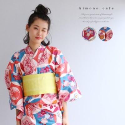 レディース 浴衣 単品 レトロ丸紋 パープル ピンク Sサイズ フリーサイズ TLサイズ ワイドサイズ