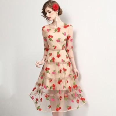 ラウンドネック 花柄 段スカート チュール 透け感 ウエストマーク ミディアム丈 ドレス