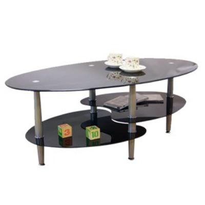 強化ガラステーブル(ローテーブル) 高さ43cm スチール脚 棚収納/アジャスター付き ブラック(黒)【代引不可】