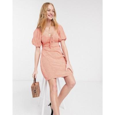 ウェアハウス Warehouse レディース ワンピース ワンピース・ドレス disty floral print milkmaid mini dress in orange オレンジプリント