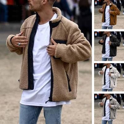 ボアジャケット メンズ ブルゾン ハイネック フリース シープボア フリースジャケット もこもこ 立ち襟 アウター レトロ 防寒 暖か 秋 冬