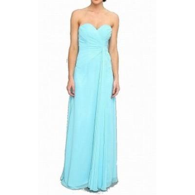 FAVIANA ファビアナ ファッション ドレス Faviana NEW Blue Womens Size 6 Chiffon Pleated Strapless Sheath Dress