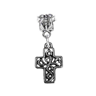 Vine Cross Scroll Filigree Christian Dangle Charm for European Slide Bracel