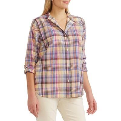 チャップス レディース シャツ トップス Petite Button Front Shirt
