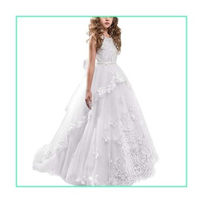 Toddler Girls Floral Lace Floor Length Princess Pageant Dress Kids Embroidery Prom Puffy Tulle Ball Gowns Wedding Birthday Party White First Communion