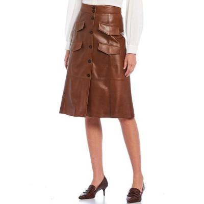 アントニオ メラーニ レディース スカート ボトムス Luxury Collection Genuine Leather Faux Button Front & Pocket Harper Skirt