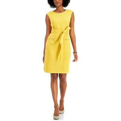 カスパー ワンピース トップス レディース Belted Zip-Pocket Dress Butterscotch Yellow