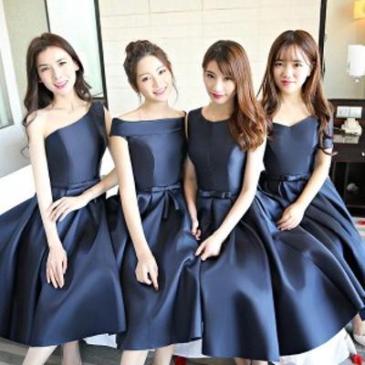 ネイビードレス ミモレ丈ドレス ネイビードレス 二次会 花嫁 ドレス ワンピース 小さいサイズ ドレス 大きいサイズ ドレス 結婚式