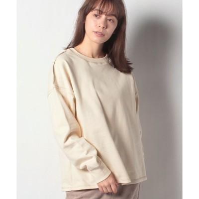 【メラン クルージュ】【Melan Cleuge women】起毛裏毛バックファスナー配色ステッチプルオーバー