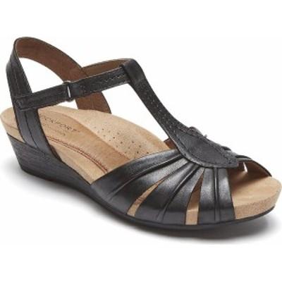 ロックポート レディース サンダル シューズ Women's Rockport Cobb Hill Hollywood Pleated T Strap Sandal Black Full Grain Leather