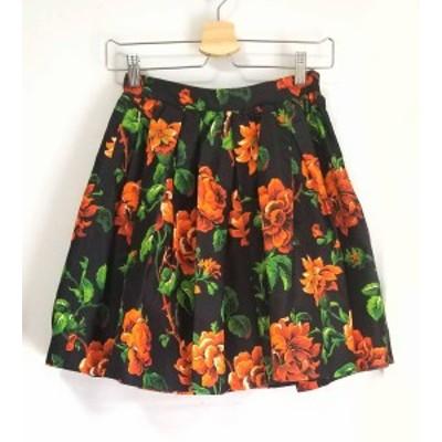 ミュウミュウ スカート 花柄 フラワー ブラック 黒 ミニスカート 40 レディース MIUMIU シルク 【中古】