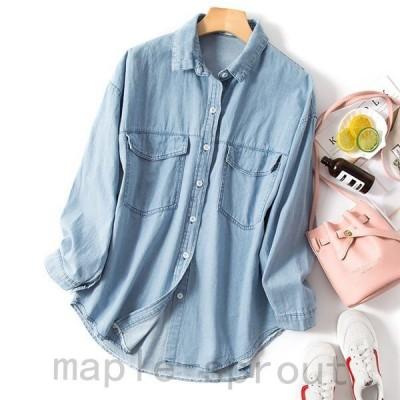 デニムジャケット デニムシャツ レディース ダンガリーシャツ ゆったり アウター カジュアル 春秋物 通勤 人気 長袖 大きいサイズ