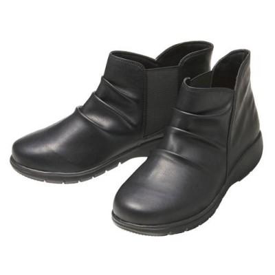 軽量ウォーキングショートブーツ<美活計画>/ブラック/22.5cm