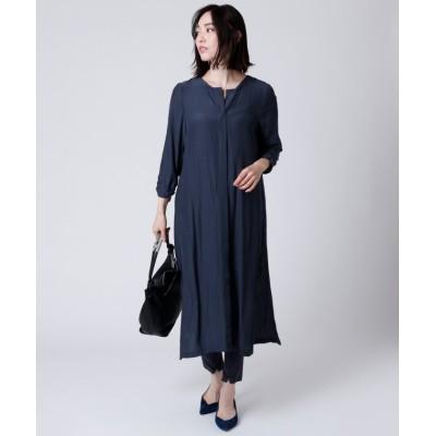 【LASUD】 [Aga] 裾シャーリング サイドスリット ロングブラウス レディース コンD M LASUD