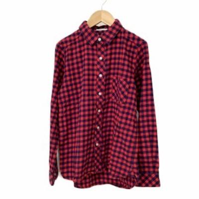 【中古】ベイフロー BAYFLOW シャツ スタンダード チェック 長袖 3 赤 紺 レッド ネイビー メンズ