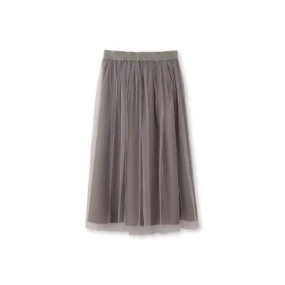UNTITLED(アンタイトル)【洗える】チュールミモレ丈スカート